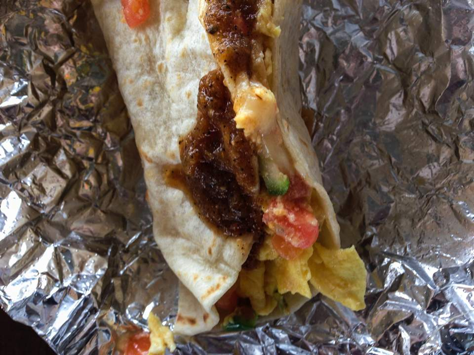 My Migas Taco! Egg, Peppers, Onion, tomato and chilli salsa in a tortilla