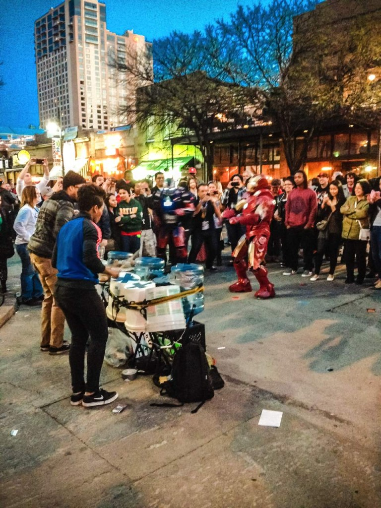 Bucket drummers were a dime a dozen on the streets of Austin, but not many feature a dancing Iron Man.
